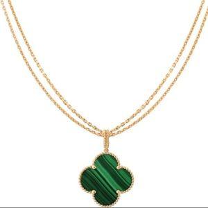 "18K Yellow 25"" Four-Leaf Clover Malachite Necklace"